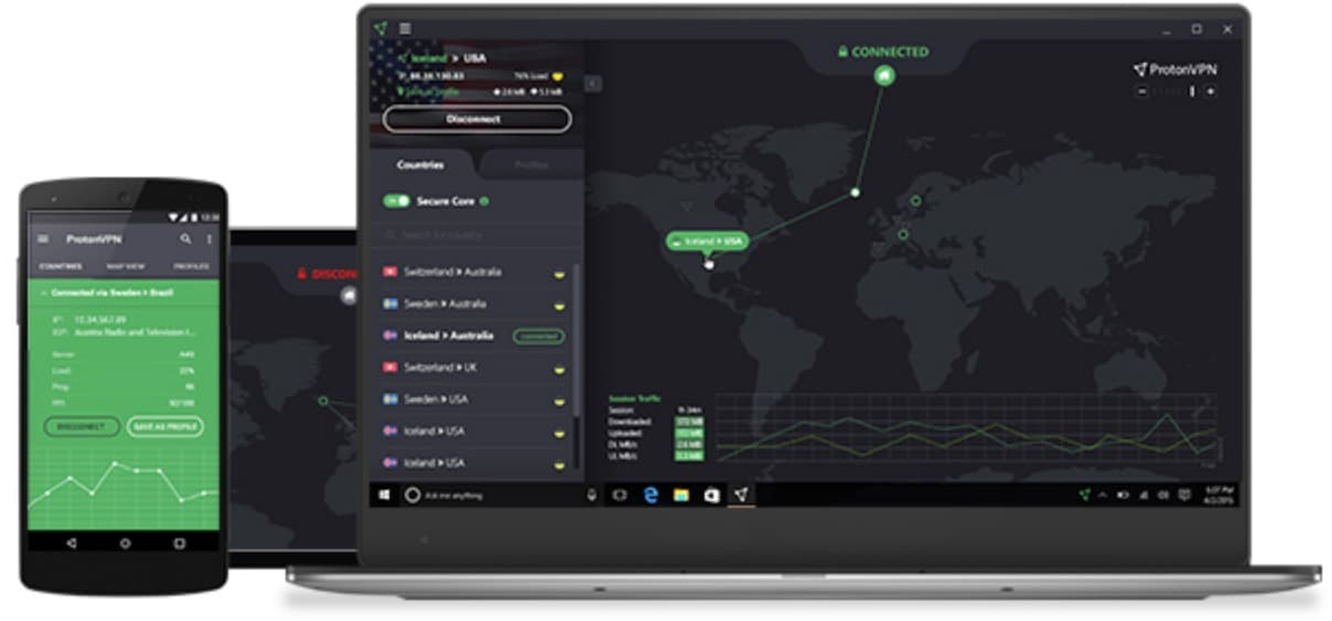 ProtonVPN on various devices
