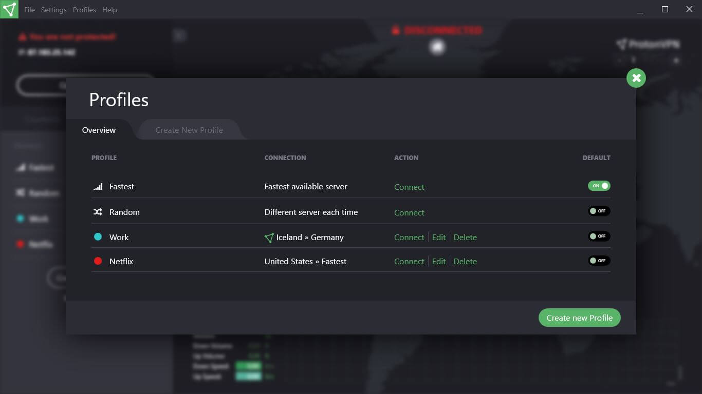 ProtonVPN Screenshot 1