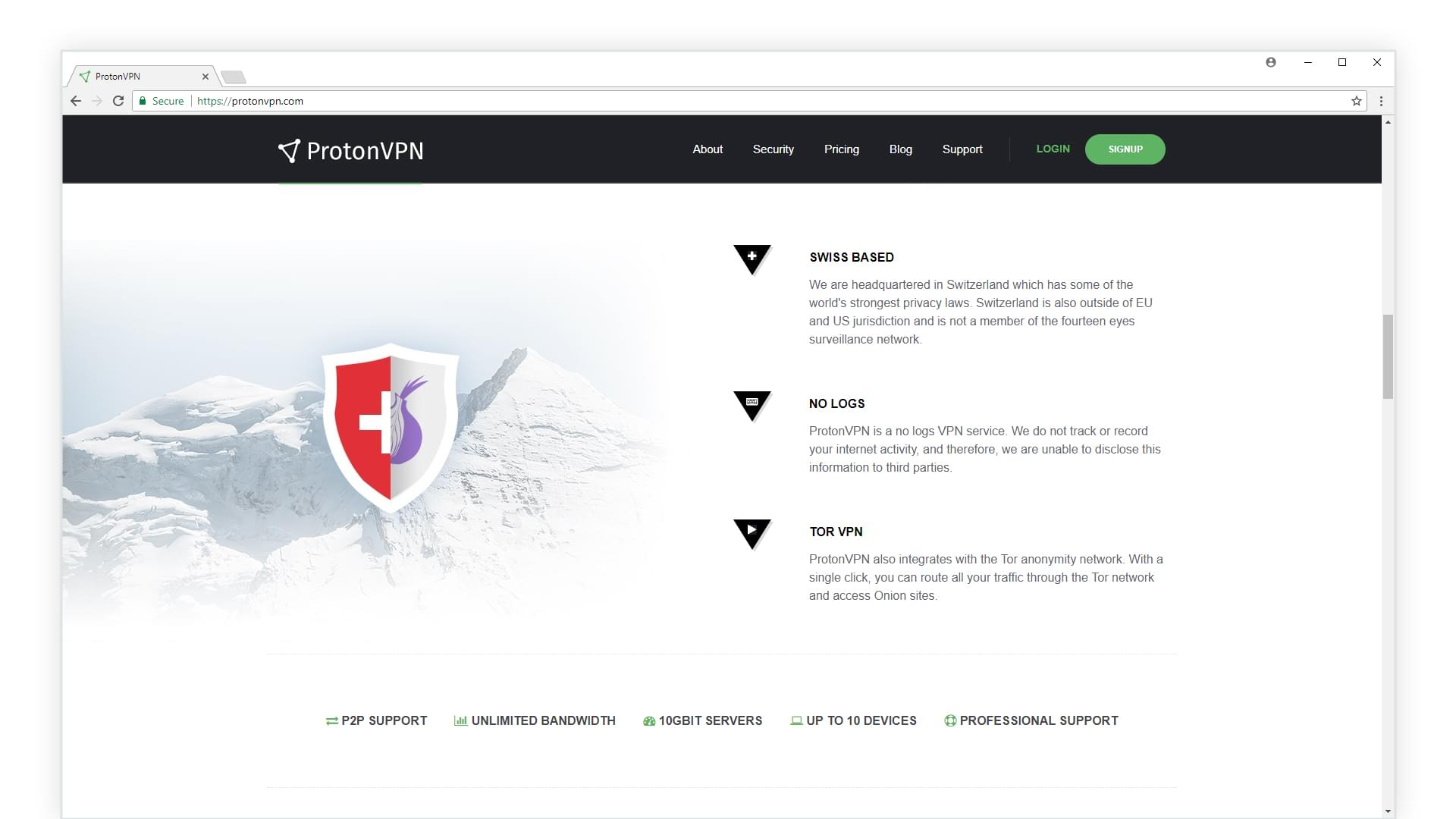 ProtonVPN website screenshot