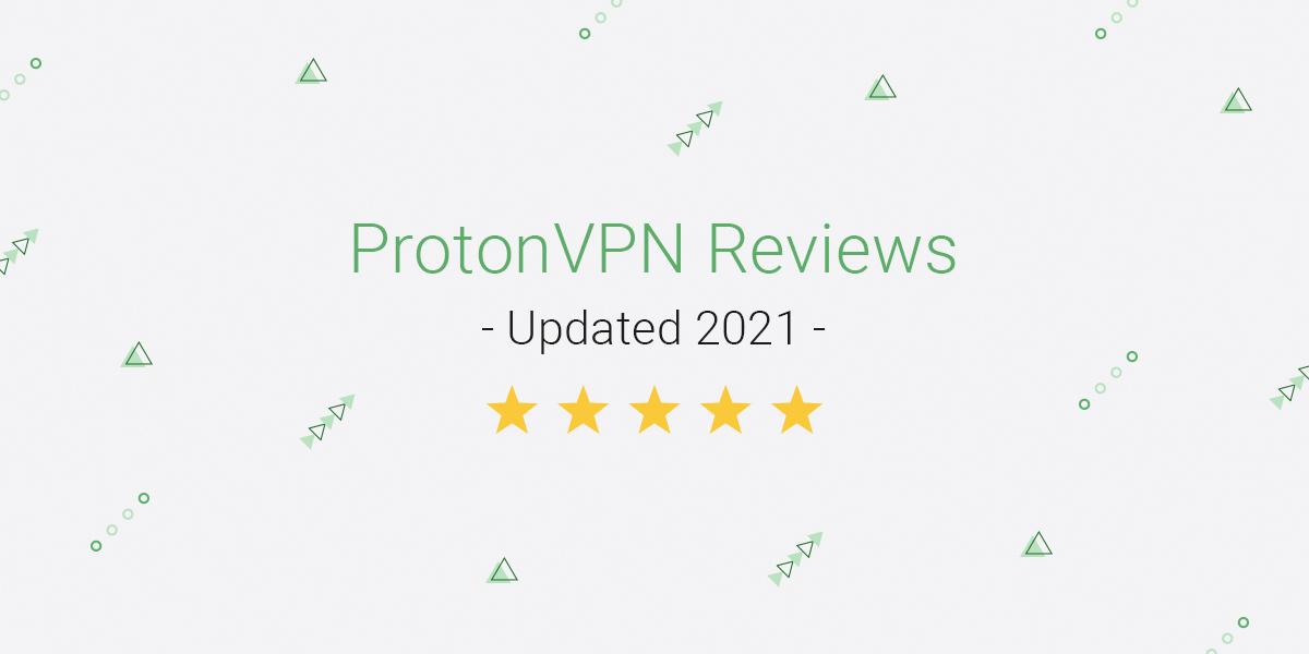 "A titlecard announcing ""ProtonVPN reviews 2021"""
