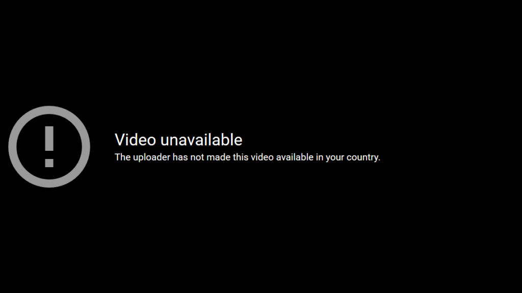 YouTube geoblocks content.