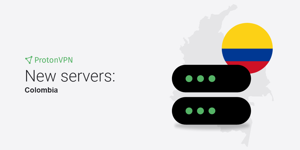 An illustration of eight new VPN servers in Colombia.