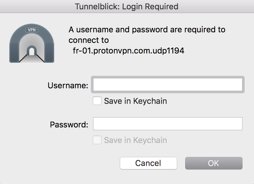 protonvpn for mac. tunnelblick password