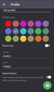 Screenshot of creating profiles.