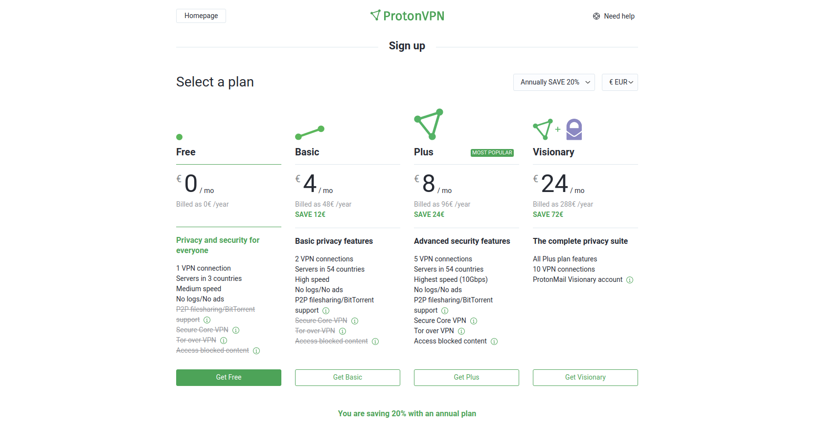 Screenshot of the ProtonVPN sign up page.