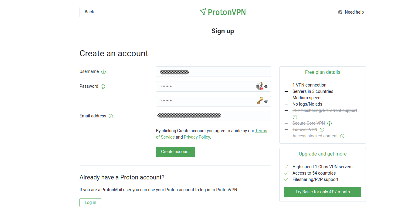 Screenshot of ProtonVPN create account page.