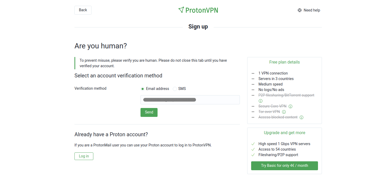Screenshot of ProtonVPN human verification page.
