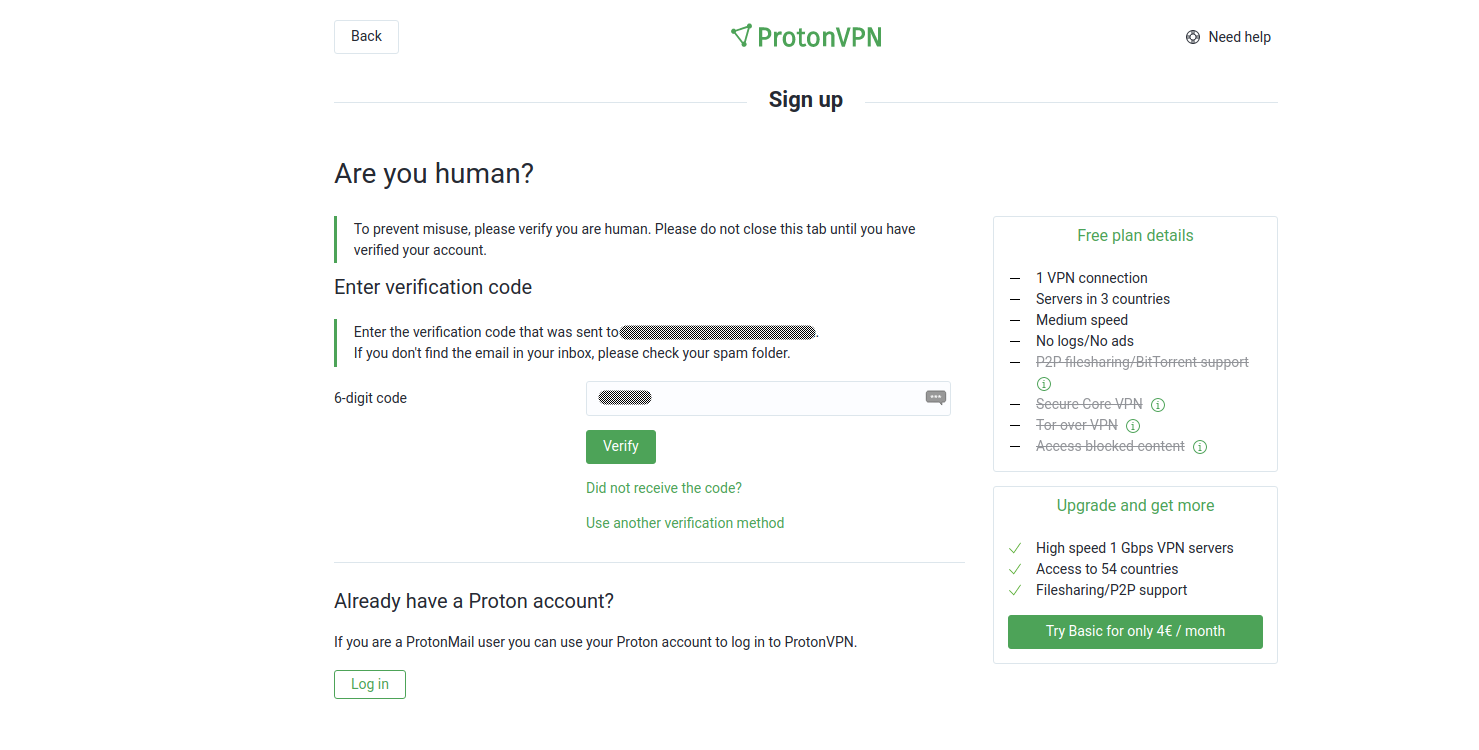 Screenshot of the ProtonVPN human verification page.