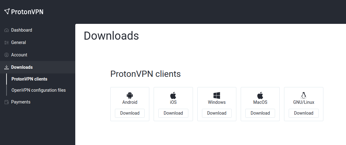 ProtonVPN Downloads page.