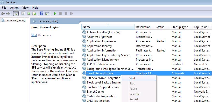 Screenshot of turning on Base Filtering Engine.