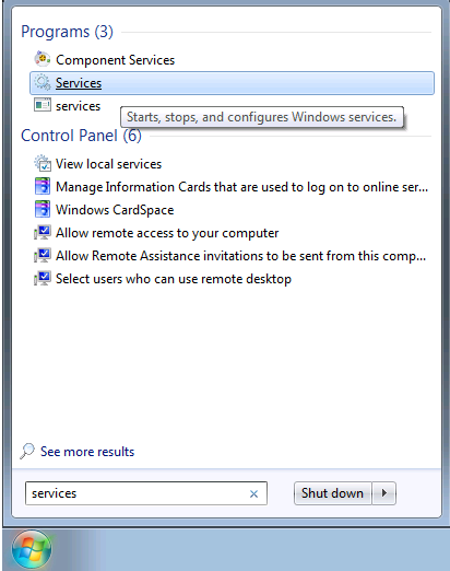 Screenshot of services search in Windows.