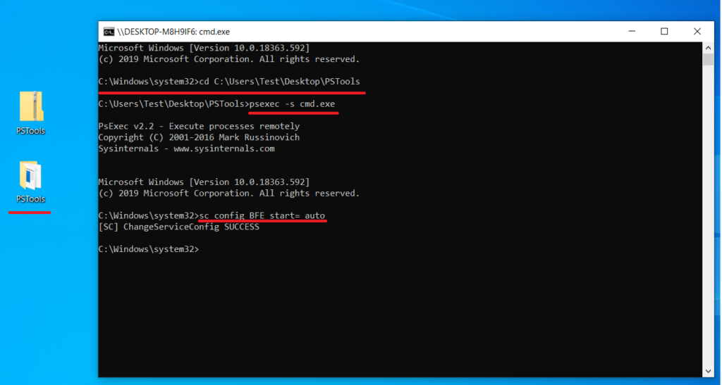 Screenshot of turning on BFE in the command prompt.