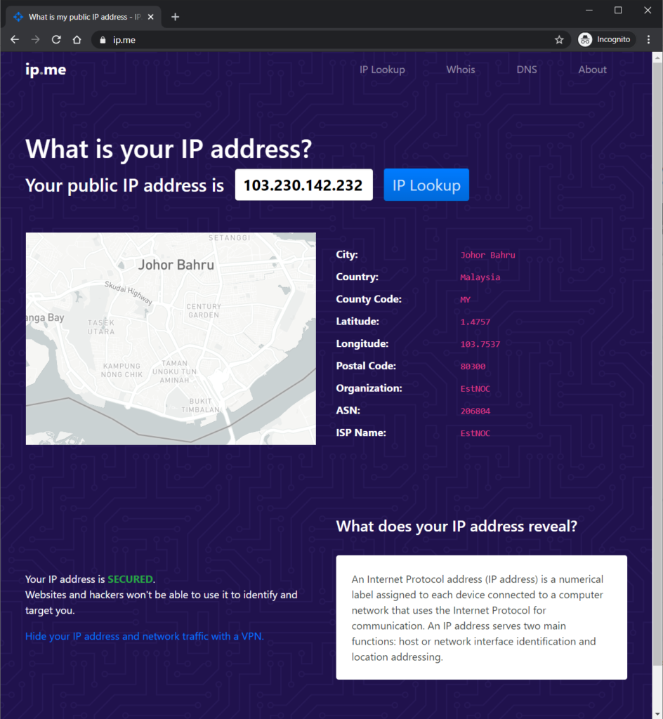A screenshot of IP.me showing the true IP address of the VPN server.