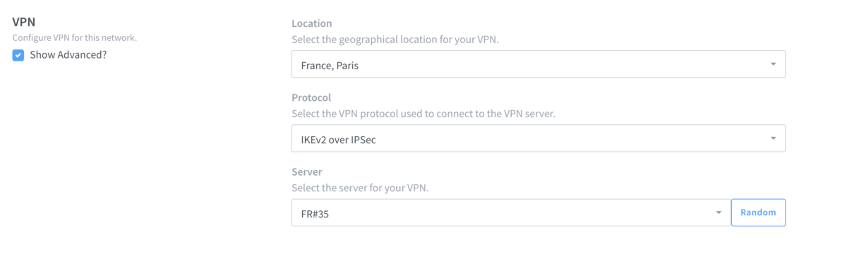 Screenshot of VPN menu for Invizbox 2