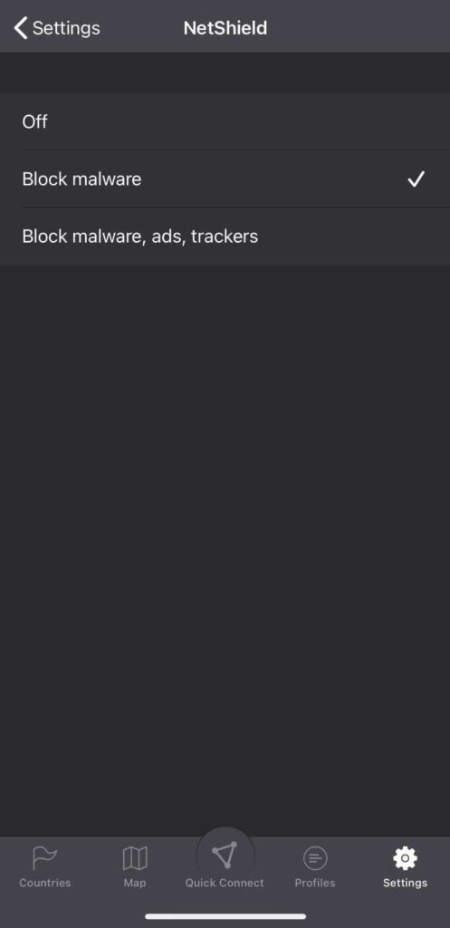 A screenshot of NetShield settings.
