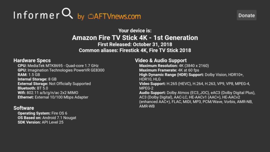 Informer Fire TV information