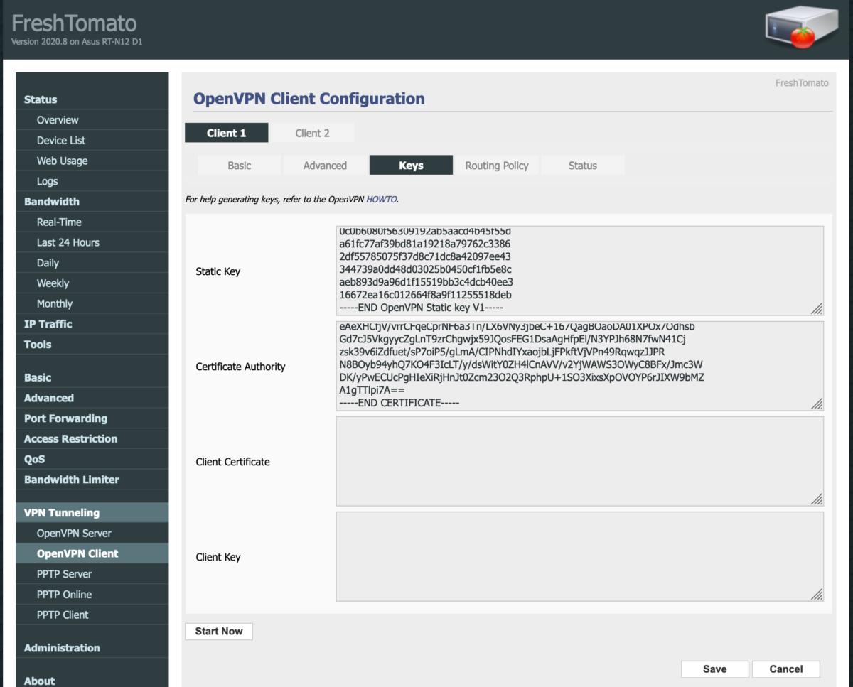 OpenVPN key settings