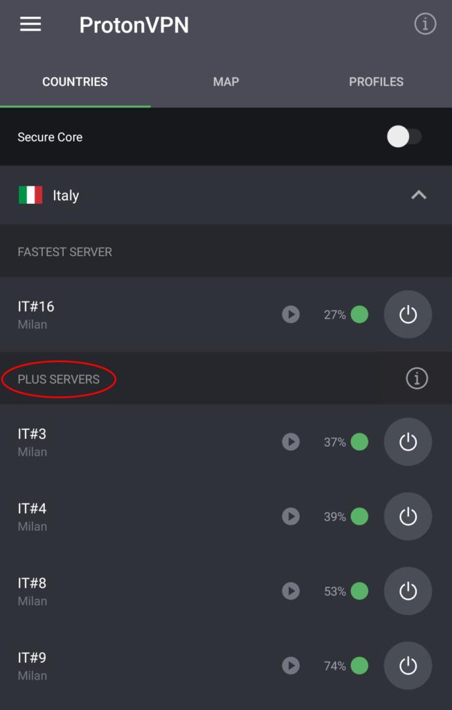 Italian servers Android