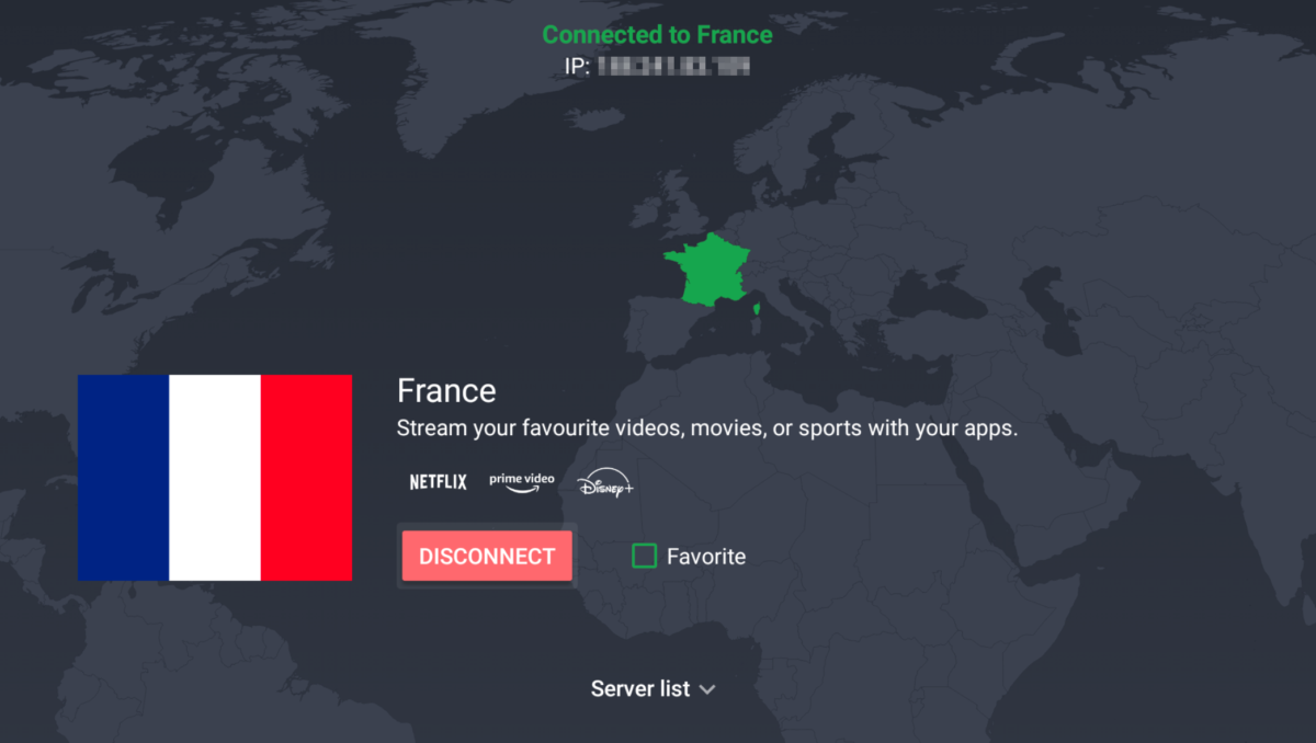 connected to android tv france server