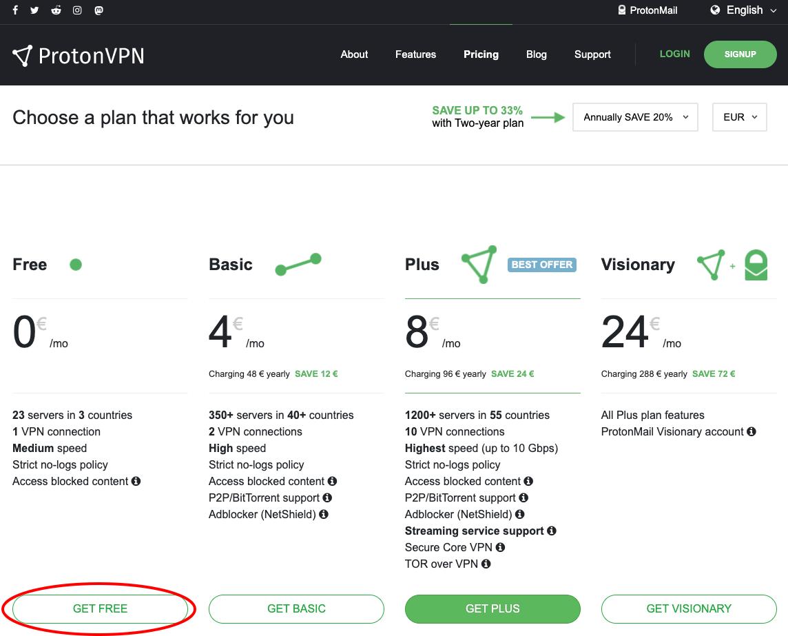 free plan protonvpn