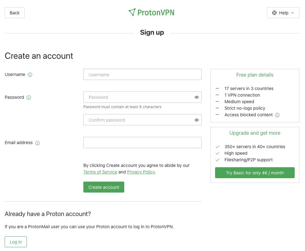 create an account protonvpn