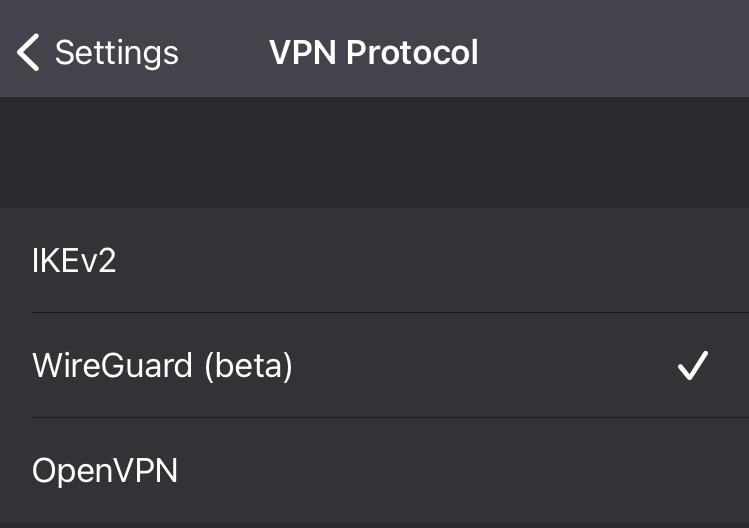 Selecting VPN protocols in the ProtonVPN iOS app - 2
