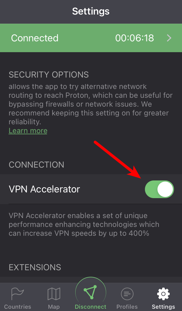 How to enable or disable VPN Accelerator on iOS or iPadOS