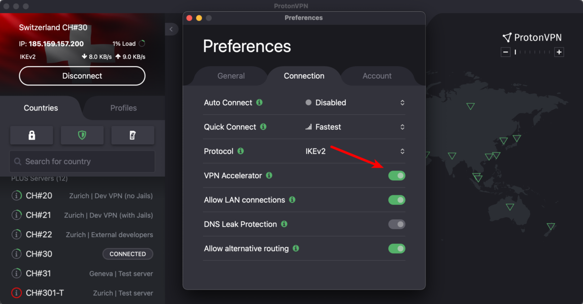 How to enable or disable VPN Accelerator in macOS