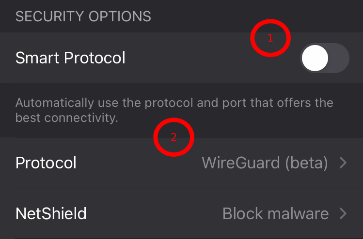 Selecting VPN protocols in the ProtonVPN iOS app - 1