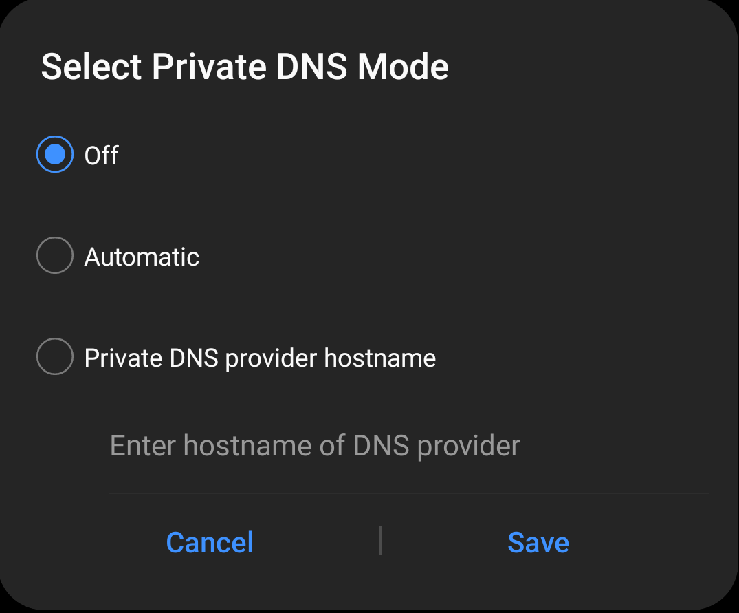 Turn Private DNS Mode off in Android