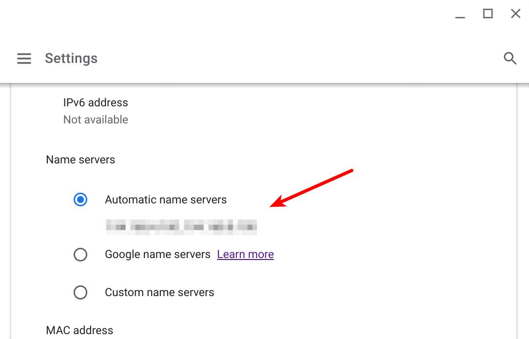 Select automatic name servers on Chromebooks