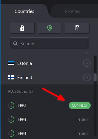 Connect to an individual server