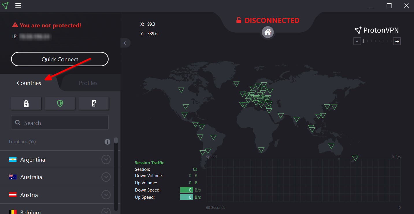 Hows to see a list of countries we run VPN servers in