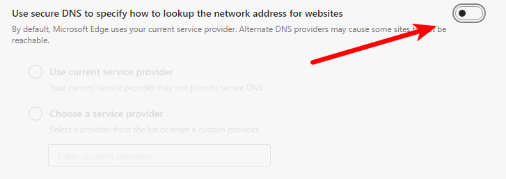 Disable use secure DNS in Edge