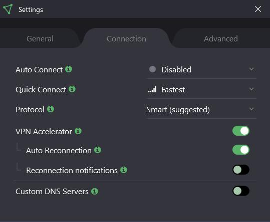 Connection settings windows protonvpn app