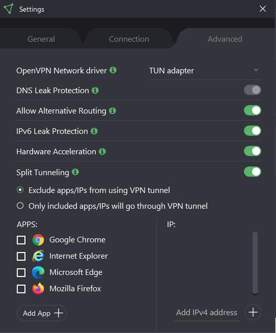 advanced settings protonvpn windows app