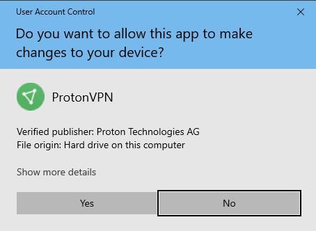 allow changes protonvpn