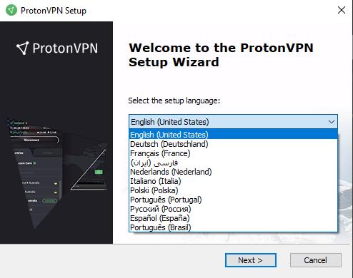 choose language protonvpn