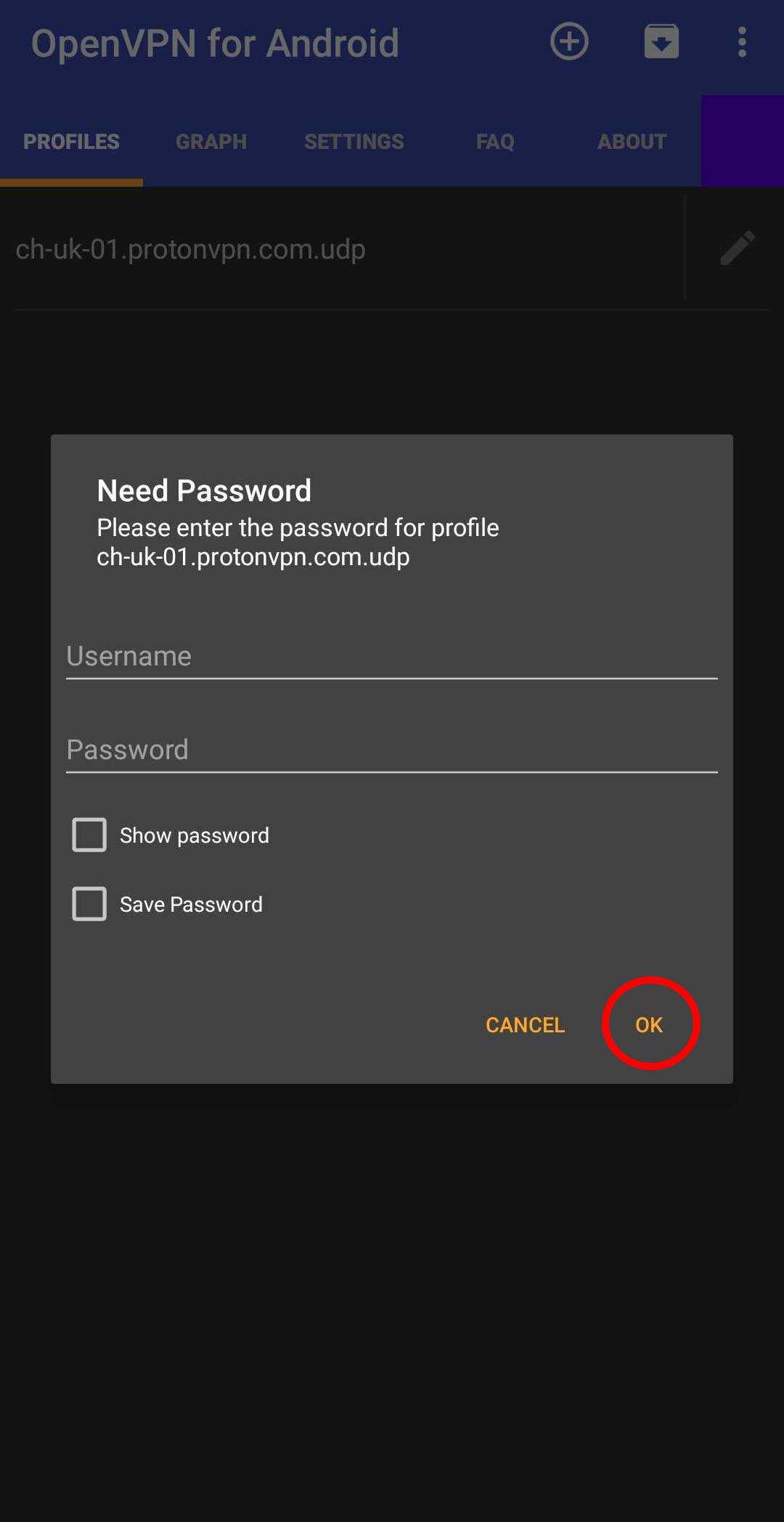 Openvpn password credentials android