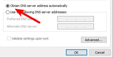 Enable Obtain DNS server addresses automatically
